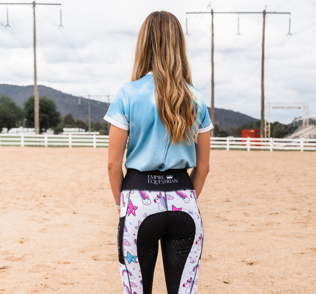 Summer Riding Tights - White Unicorn