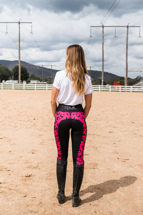 Summer Riding Tights - Pink Leopard Print