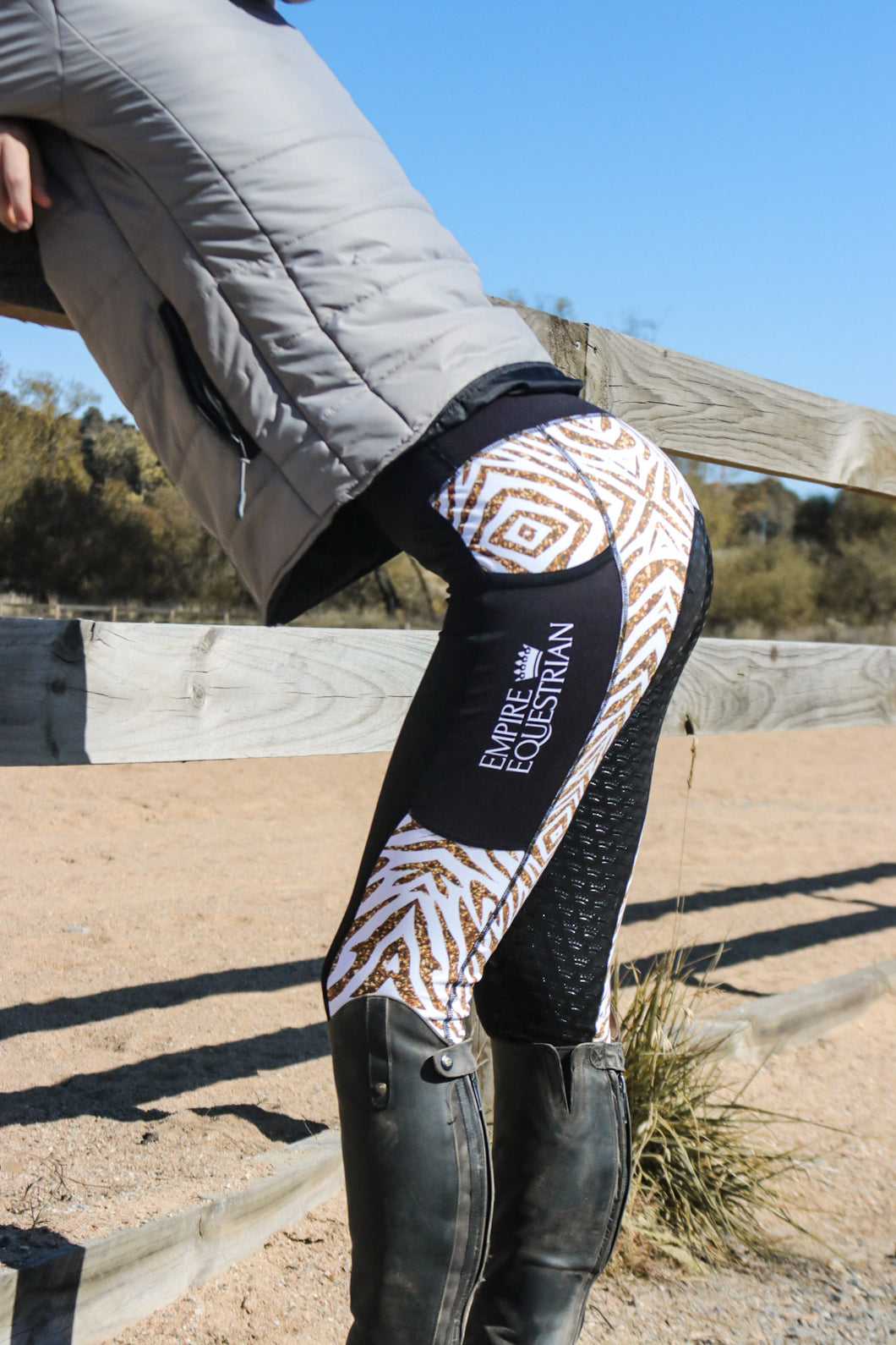 Unlined Tights - WHITE & GOLD TIGER PRINT