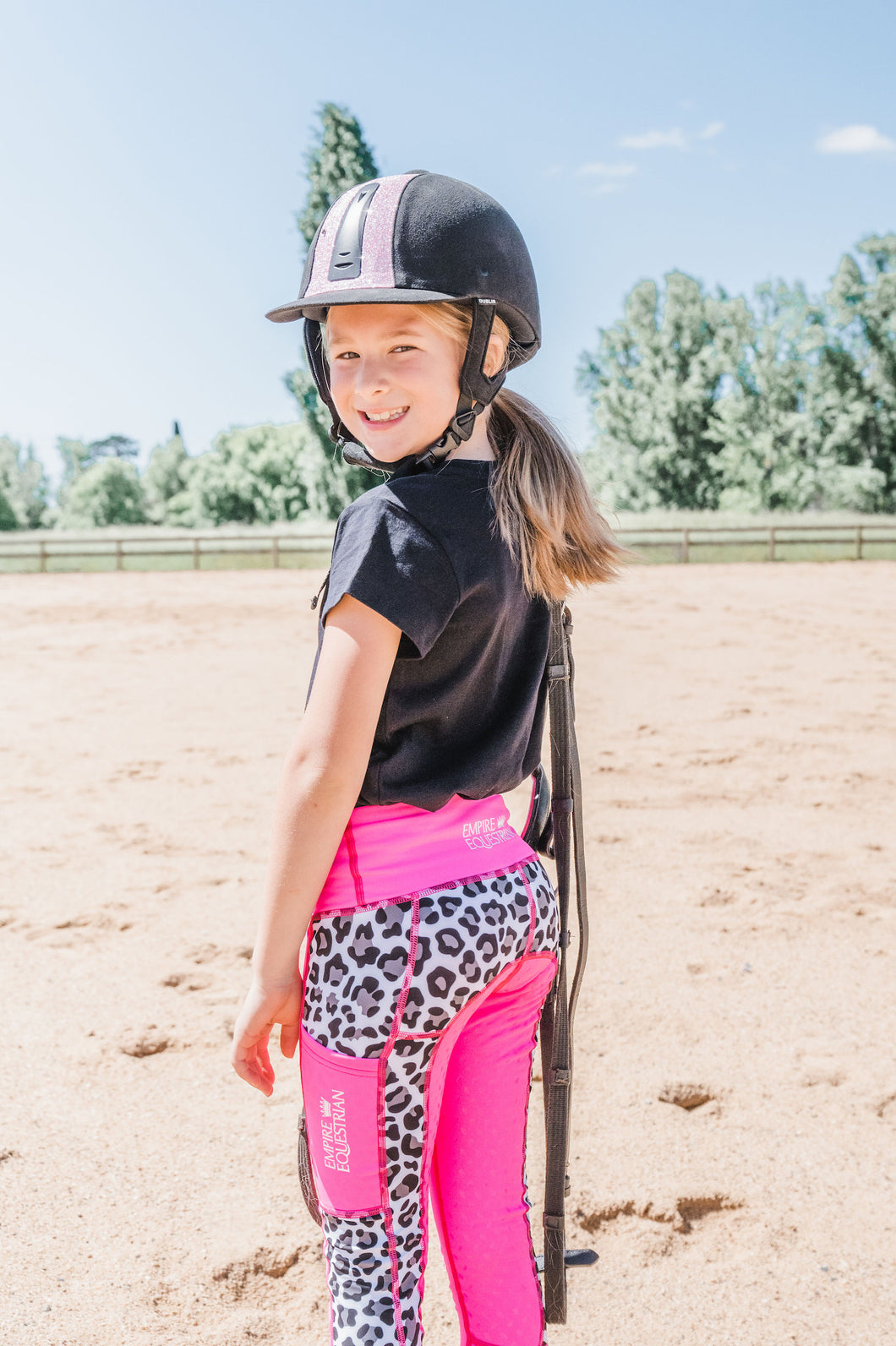 Children's Lined Riding Tights - LEOPARD & PINK