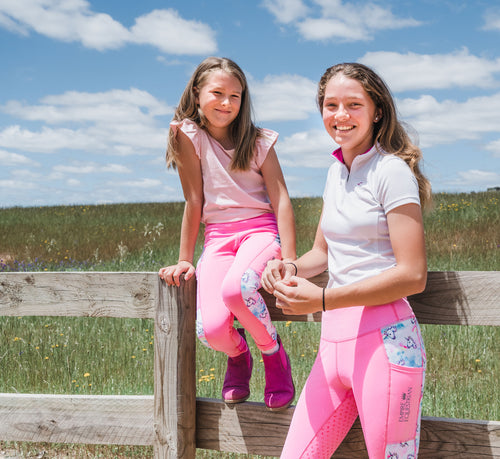 Children's Lined Riding Tights - RAINBOW UNICORN & PINK