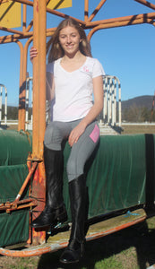 Winter Riding Tights - GREY & BABY PINK