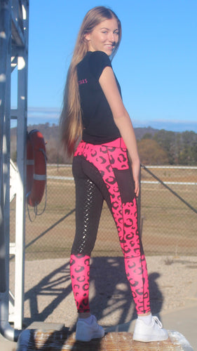 Winter Riding Tights - RED LEOPARD PRINT
