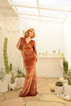 Valeria Maxi Gown in Rose Gold Stretch Velvet | Laura Byrnes Design