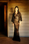 Maria Cape Sleeve Maxi Gown in Black Stretch Lace | Laura Byrnes Design