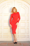 Jackie Wiggle Dress in Red Ponte de Roma | Laura Byrnes Design
