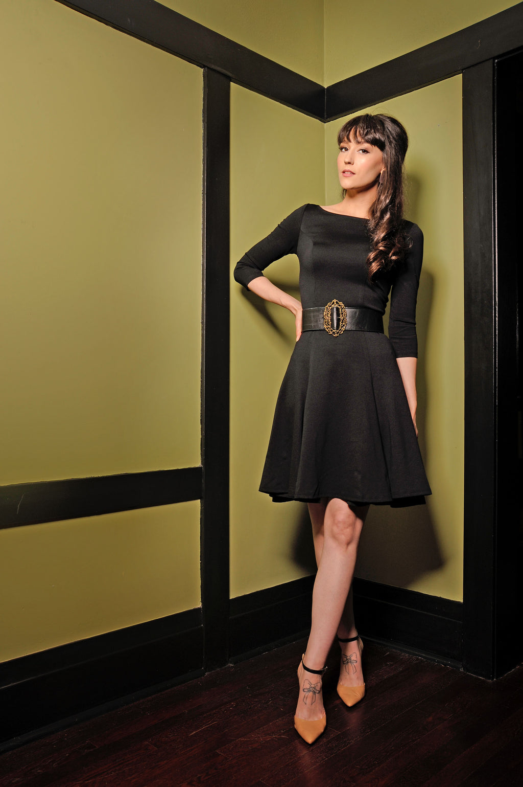 Ponte Sabrina Little Black Dress by Laura Byrnes