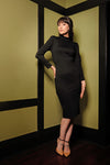 Jackie Wiggle Dress in Black Ponte de Roma | Laura Byrnes Design
