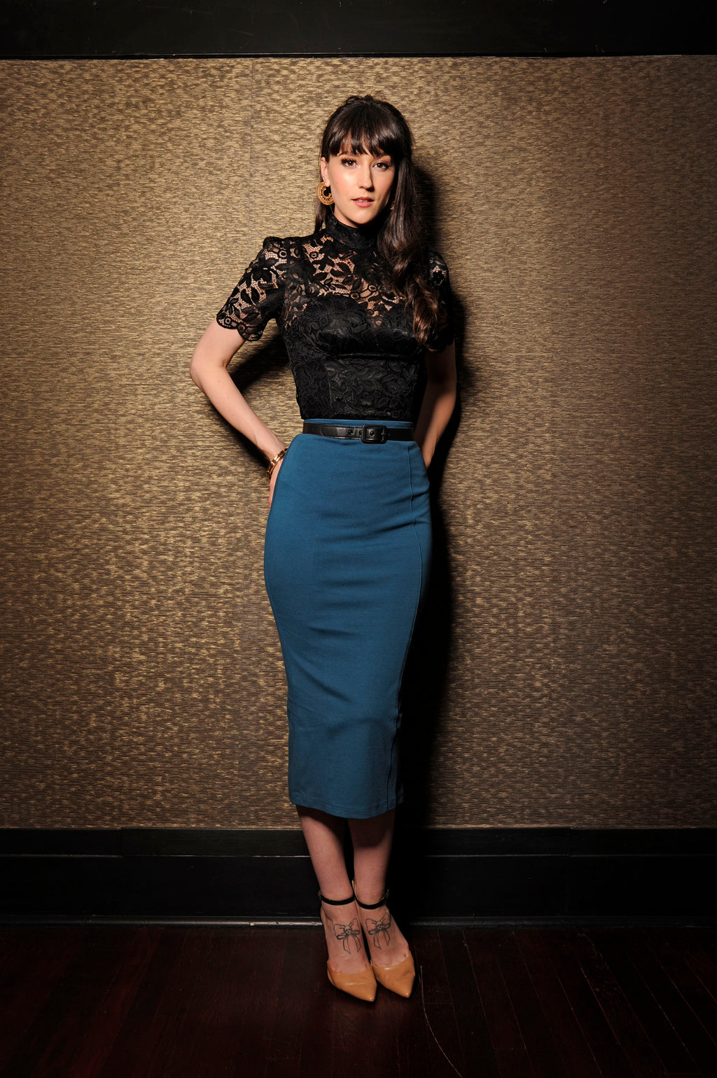 Midi Skirt in Teal | Laura Byrnes Design
