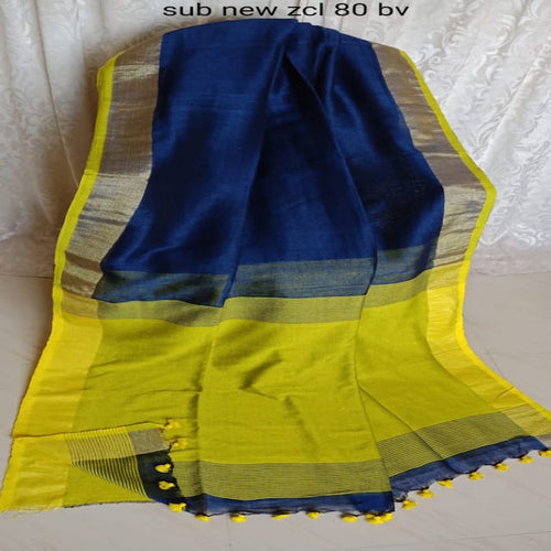 Authentic Handloom Saree of India Linen Saree with Zari Weaving Saree Bengal Linen Weaving