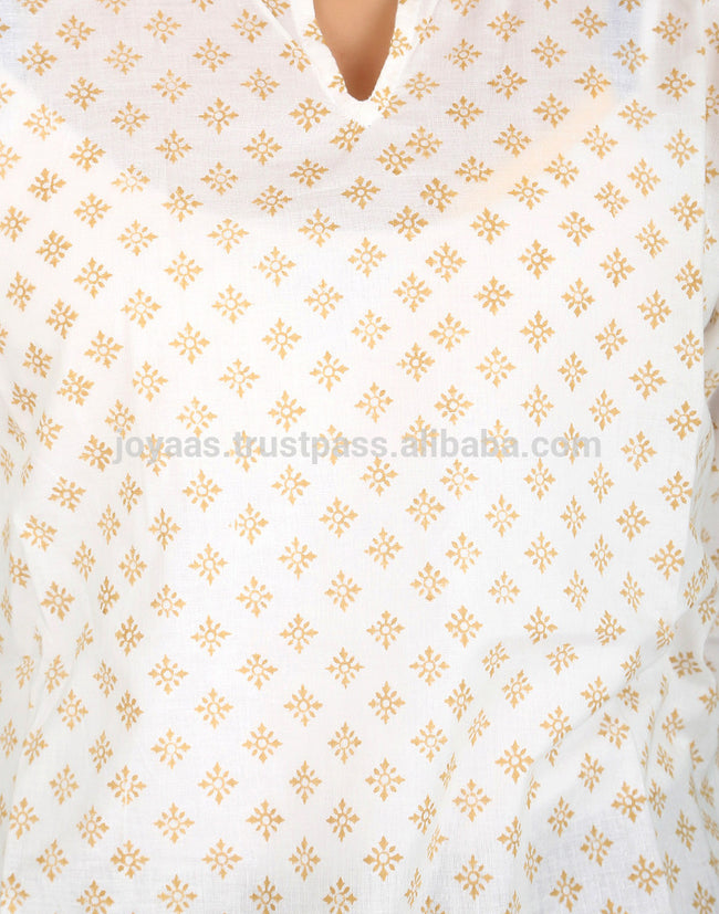 Floral Hand Block Printed 3/4th Sleeves Soft And Lightweight Women Cotton Long Kurti