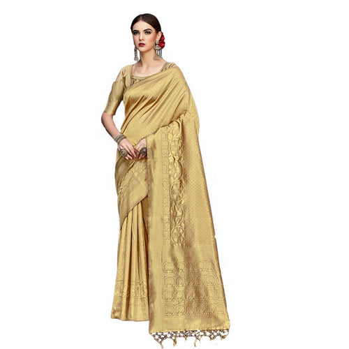 Gold Kanjivaram Silk Embellished Designer Saree With Unstitched Blouse Material