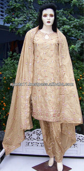 Hand Embroidered Churidar on beige silk chiffon PSN-37