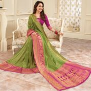 Indian Banarasi Saree in Green Color