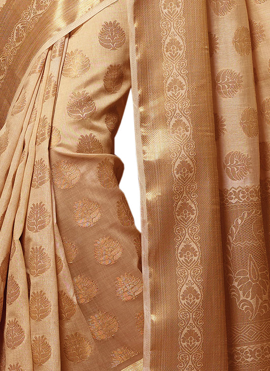 Meghdoot Woven Art Tussar Silk Saree/Sari Beige Colour Wholesale