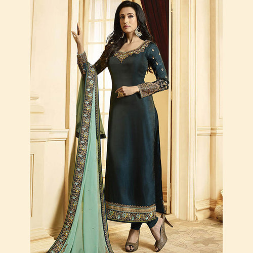 New Designer Embroidery Work Georgette Silk  Long Churidar Suits Collection