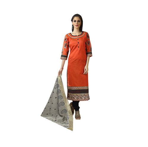 Orange Chanderi Silk Churidar Designer Suit