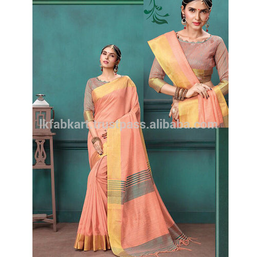 Peach Bulk Stylish Festival Wear Malbari Silk Sarees