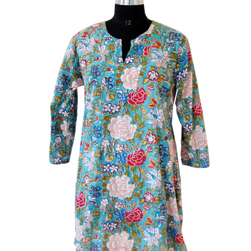 Wholesale floral printed short kurti western dress party style fashionable in very popular in uk cotton top