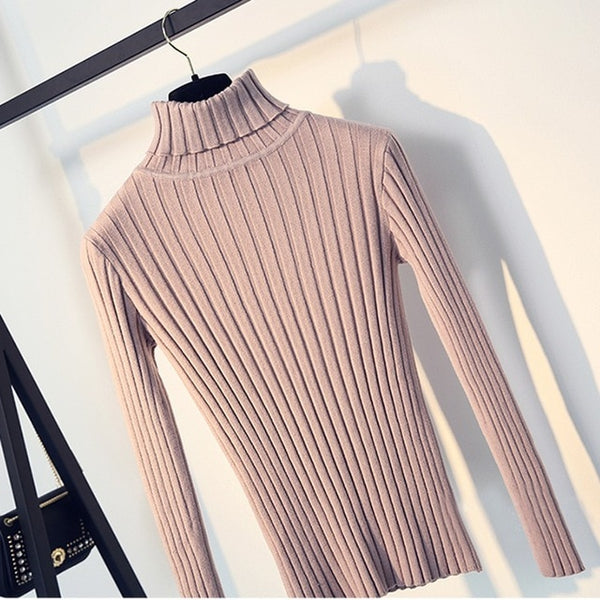 Warm Women Turtleneck Sweater 2018 Autumn Winter Knit Women Sweaters And Pullover