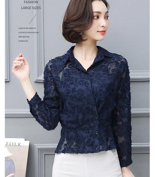 Chiffon Blouse Women Long Sleeve 2019 New Kimono Cardigan OL Work Womens Tops and Blouses Plus Size Lace Women Shirts Blusas
