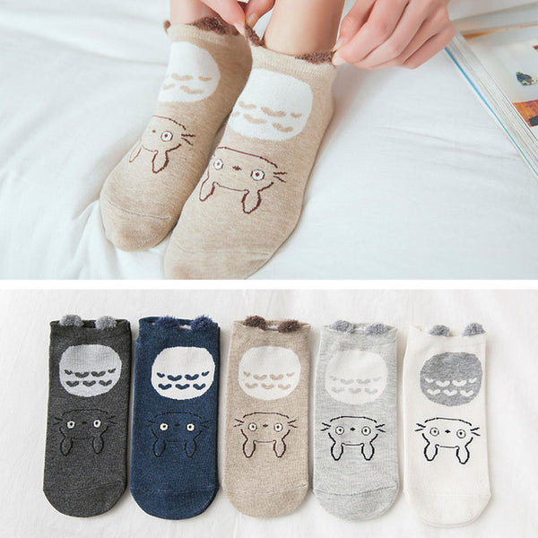 5 Pairs Fashion Women Casual Cute Ankle High Low Cut Invisible Silk Cotton Socks