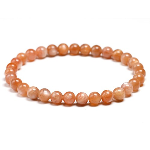 Natural Orange Sunstone Womens Beaded Bracelet Healing Yoga Energy Bracelets Men Gemstone Stretch Handmade Jewelry Gift