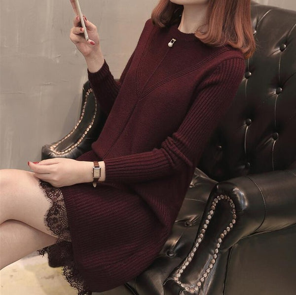 2019 korean winter sweater dress 4 colors casual Stripe knitted dress fish tail woman sweater dress women