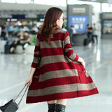 Autumn Women Casual Sweaters Loose O-neck Long Sleeve Cardigans Winter Knitted Jumpers Stripe Outwear Jacket Coat with Pockets