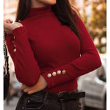 Button Sleeve Knitted Sweater Solid Pullovers Causal Thin 2019 Women Turtleneck Office Lady Sweaters Knitting Female Knit Tops