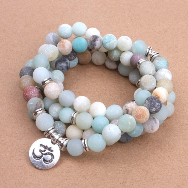 NEW Fashion Women Natural Stone Strand Matte Frosted Amazonite beads with Lotus OM Buddha Charm Yoga Bracelet Pulseras