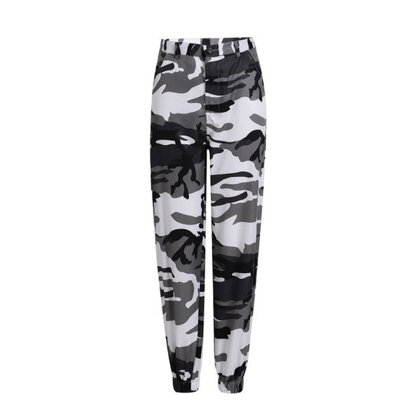 Women Printed High Waist Hip Hop Trousers Pants Military Army Combat Camouflage Long Pants