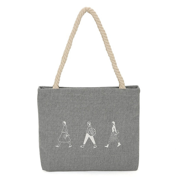 Canvas Tote Print Lady Bag Casual Beach Tote Eco Shopping Bag Daily Items Collapsible Canvas Shoulder Bag Customizable NB107