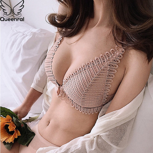 Queenral Sexy Lace Bra Push Up Bralette Bras For Women Front Closure Bra Wire Free Breathable Backless Women Underwear Bra BH