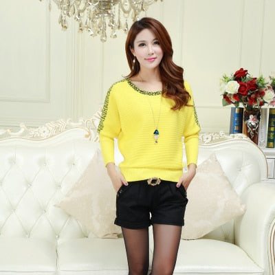 Large Size Knitted Women Bat Sleeve Pullover Yellow Pull Femme O -Neck Casual Sweater For Women Jumper Spring Female Pullovers
