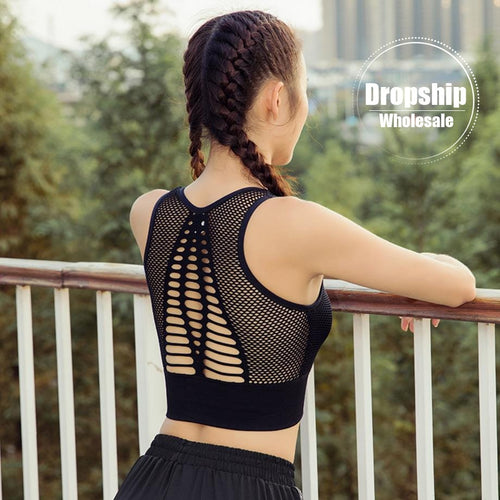 2019 Solid Sports Bra Sexy Back Yoga Tank Crop Top Athletic Women Fitness Push up Gym Running Shockproof Workout Fast Dry Vest