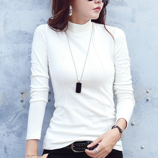 90% Cotton Basic Turtleneck White Sweater for Women Sexy Slim Winter Bottom Top Female Warm Autumn Shirt Pullovers Lady Jumper