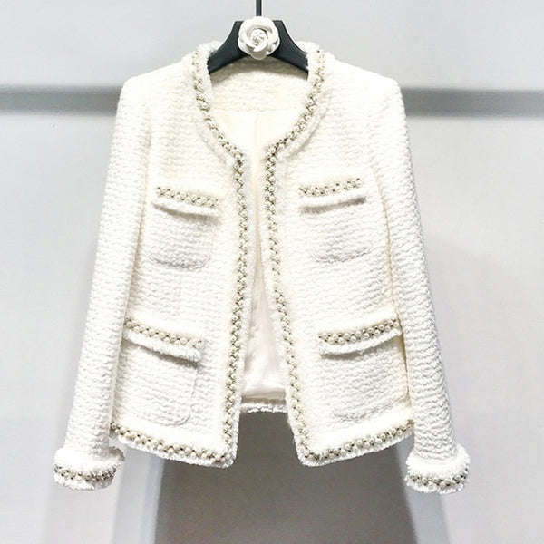 White tweed women jacket Hand-made beads spring / autumn / winter woolen coat new Wool classic jacket Ladies
