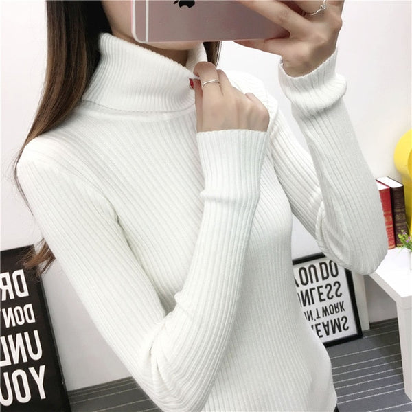 2018 Autumn Winter New Warm Knitted Women Sweaters And Pullover Turtleneck Femme Pull High Elasticity Soft Sweater Black White