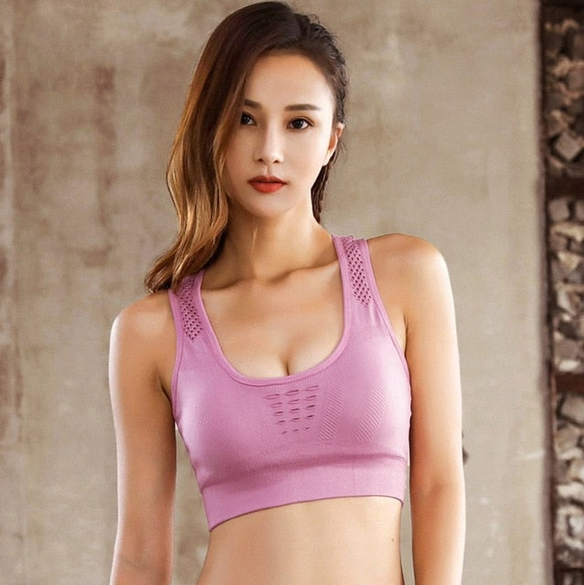 Sports Bra for Women Seamless Yoga Solid Tank Crop Top Fitness Push up Gym Running Shockproof Workout Fast Dry Vest Wire Free