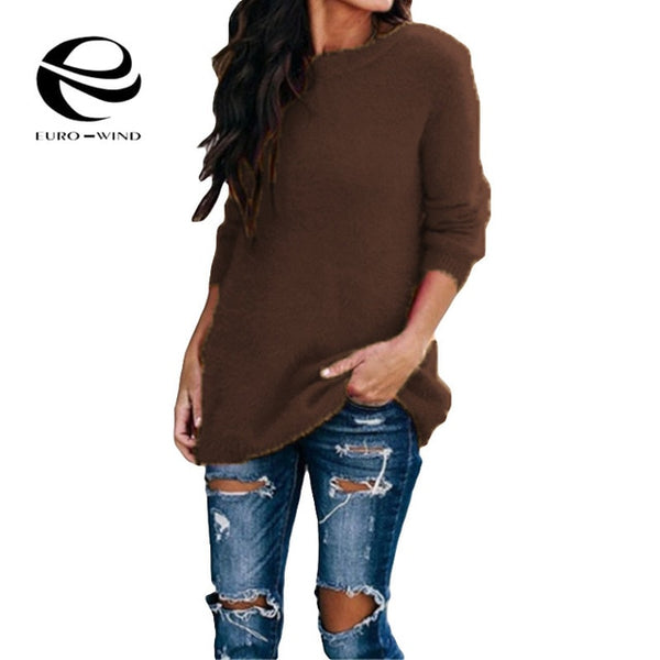 Plus Size 5XL Autumn Winter Casual Long Sleeve Solid O Neck Sweater Casual Loose Female Sweaters Tops Fashion Women Clothing