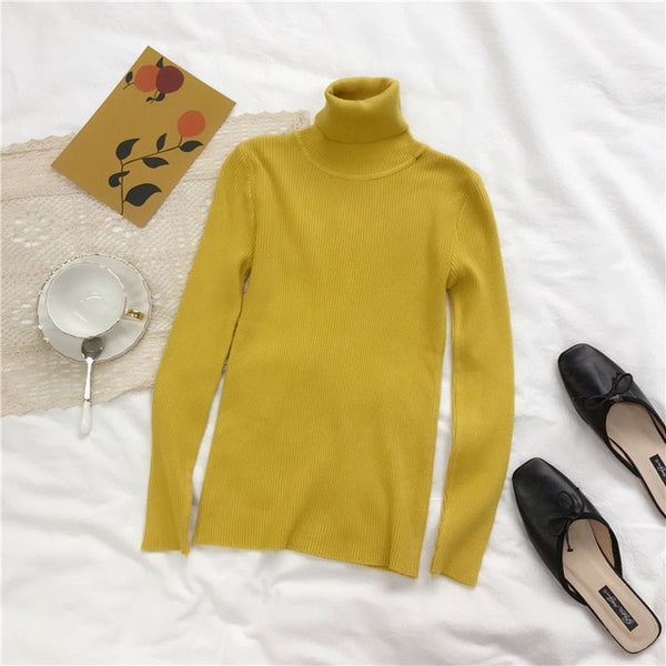 Turtleneck Sweater Womens 2019 Autumn Winter Tops Korean Slim Women Pullover Jumper Knitted Sweater Pull Femme Hiver Truien