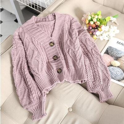 Women's autumn winter new fashion pure color hemp rope cardigan sweater female loose lazy style knit sweater tops TB3153