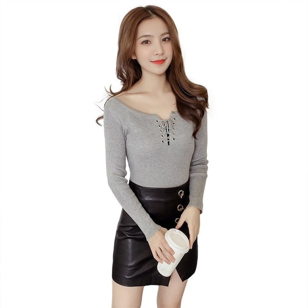 Spring Lace Up Wool Sweaters Women Autumn V-neck Long Sleeve Warm Pullovers Knitted Sweater