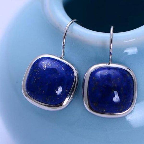 925 Sterling Silver Jewelry Natural Lapis Lazuli Earrings For Women Square Shape Simple Fashion Earring Oorbellen Voor Vrouwen