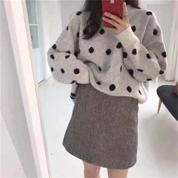 RUGOD Fashion knitting sweater women 2019 Autumn Winter O-Neck Long Sleeve Sweaters Lady Dots Print Pullovers jersey mujer
