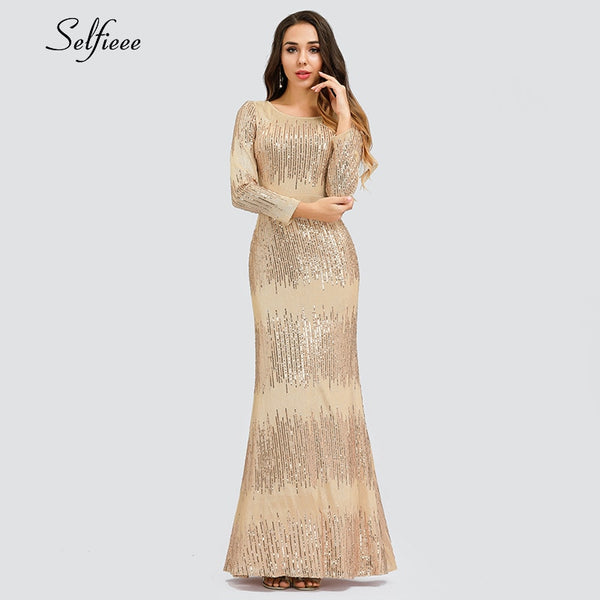 Sexy Rose Gold Women Dress Seuqined Full Sleeve O-Neck Bodycon Ladeis Luxury Sparkle Maxi Dress For Party Vestidos De Festa 2019