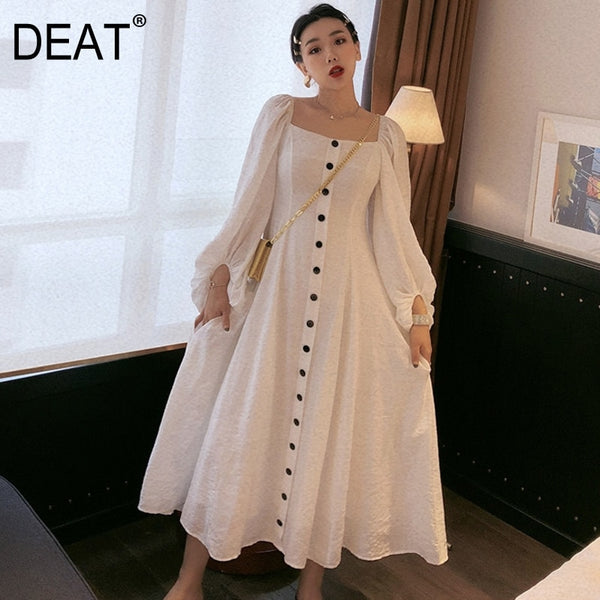 DEAT White Square Collar Bubble Long Sleeve Single-breasted Waist Woman Dress Vintage Simple Fashion 2019 Autumn New TD187