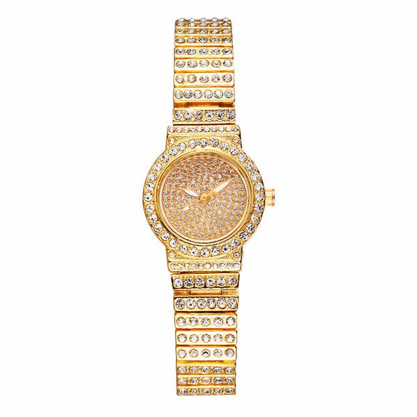 Gold three-color Quartz Watch Dial 20mm(Very small) Fashion Square Starry Set Steel Belt Rhinestone Women Clock  Ladies Watches