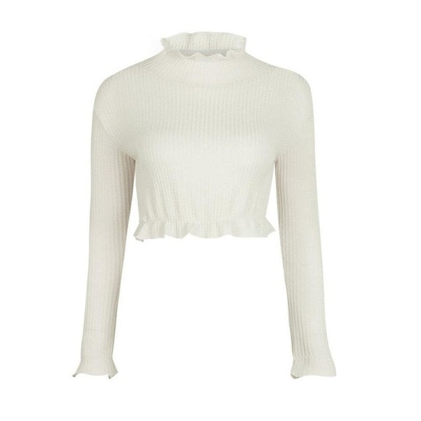 Sexy Long Sleeve Crop Top 2018 Autumn White Gray Khaki Crochet Women Elegant Sweater Short Tank Crop Tops Bustier